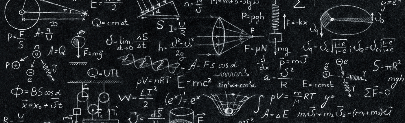 physics calculations on chalkboard