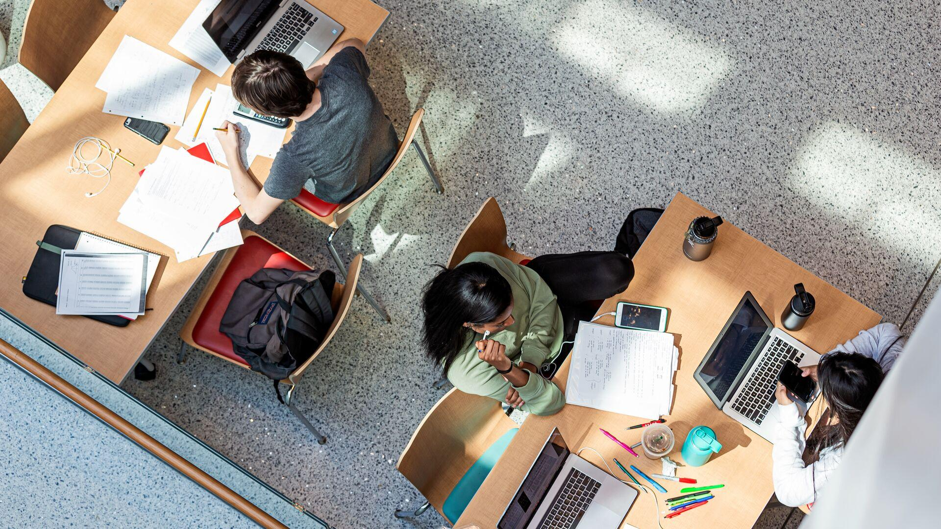 View from Above, Students working in the Edward St. John Learning and Teaching Center